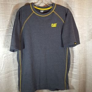 CAT caterpillar brand men's gray and yellow shirt